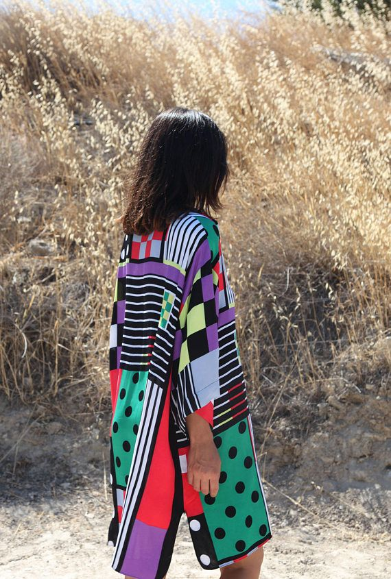 Vintage multi color polka dots and stripes plaids checks