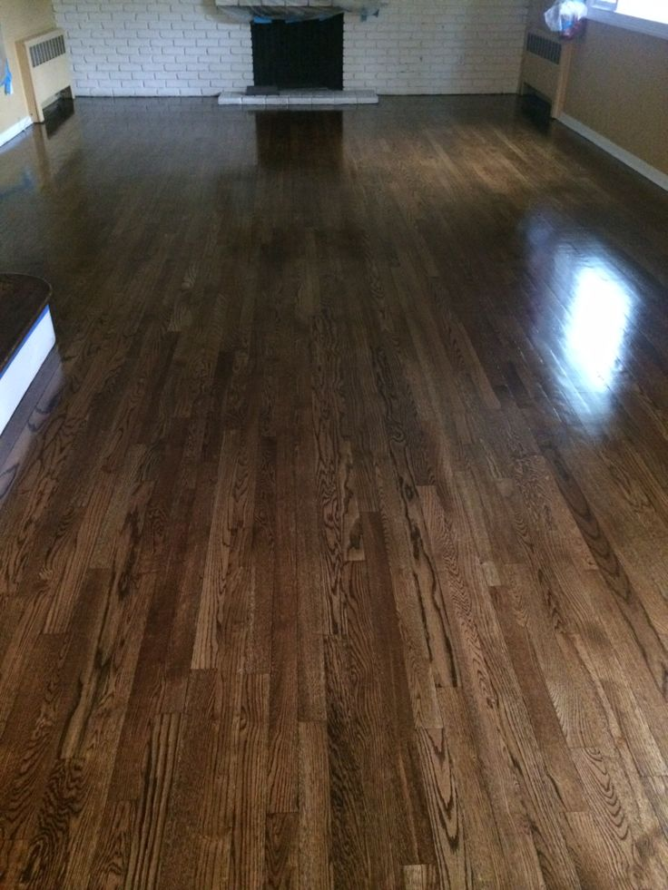 Dark walnut stained floors. Very trendy right now