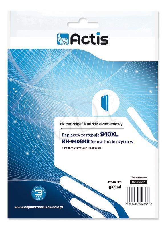 TUSZ ACTIS KH-940BKR (DO DRUKARKI HEWLETT PACKARD, ZAMIENNIK HP 940XL C4906AE STANDARD 80ML CZARNY)