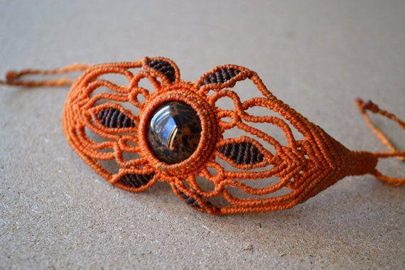 Orange Macrame Bracelet/ Black Brown Gemstone/ by SpiritYSol, $34.00