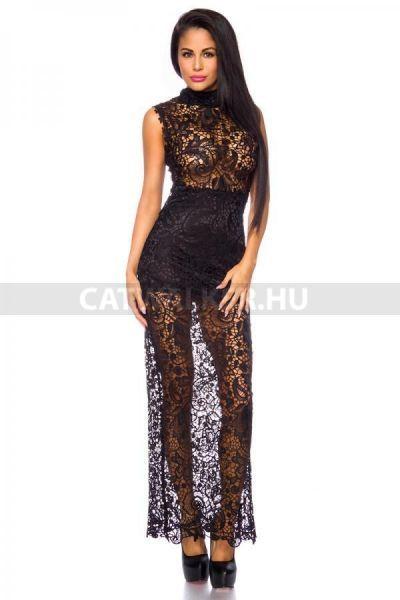 94b6db2ff8 Fekete estélyi ruha, csodás csipkéből, ujjatlan fazonban, hátsó részén  cipzárral. Ruha hossza s méretnél kb. 147 cm. Estélyi ruhák, estélyi ruha  webáruház.