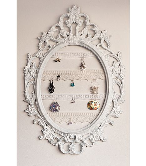 Vintage frame and trimmings for jewelry storage