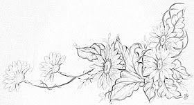 Risco desenho para pintura em tecido flores  gérberas