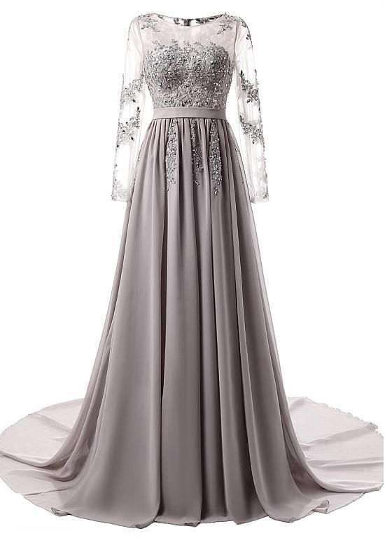 Buy discount In Stock Stunning Chiffon Jewel Neckline A-line Evening Dresses With Lace Appliques at Dressilyme.com