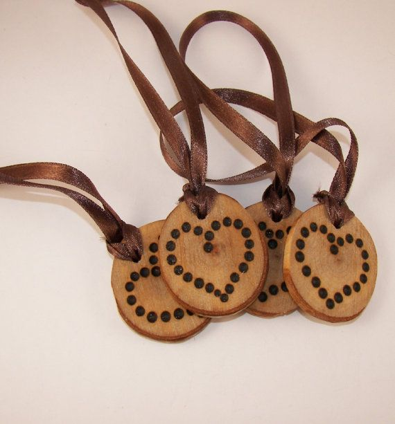 Four Rustic Heart Wood Burned Christmas Tree by ilovemy1984, $15.00