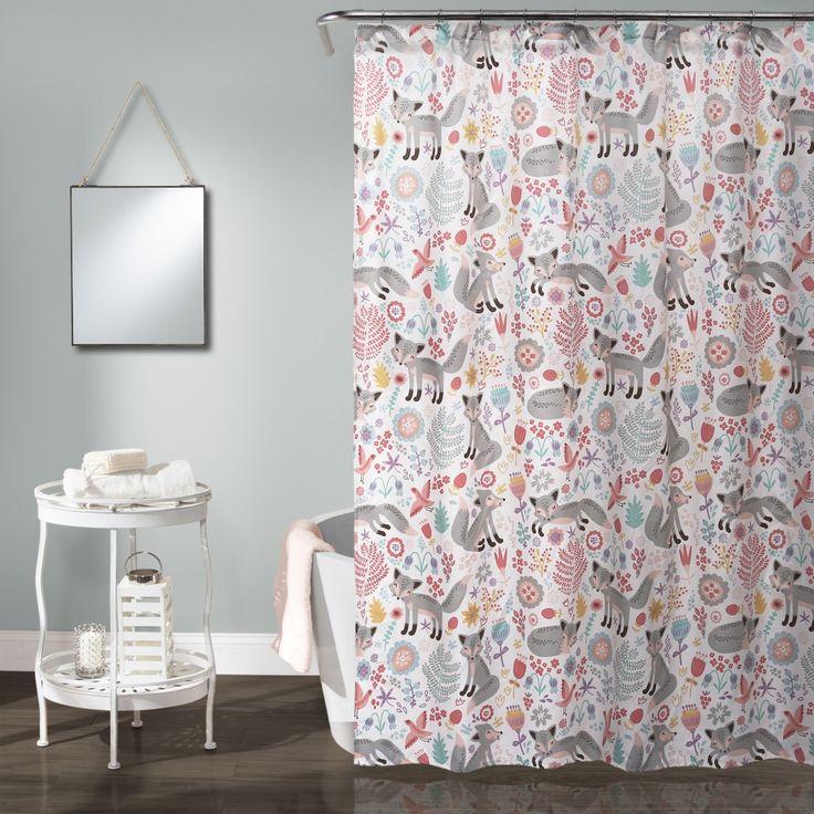 Pixie Fox Shower Curtain Gray Pink 72x72 Lush Decor 16t000935 Kids Shower Curtain Childrens Shower Curtains Lush Decor
