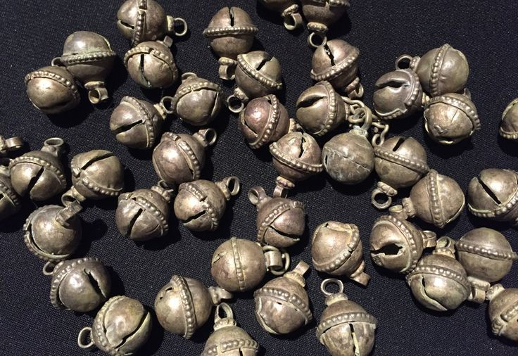 10 Vintage Bell Beads-Vintage Spacers,Old finding,Necklace Parts,Kuchi Jeweller Parts-Dangly Beads With Charms .... by JewelsofNomads on Etsy