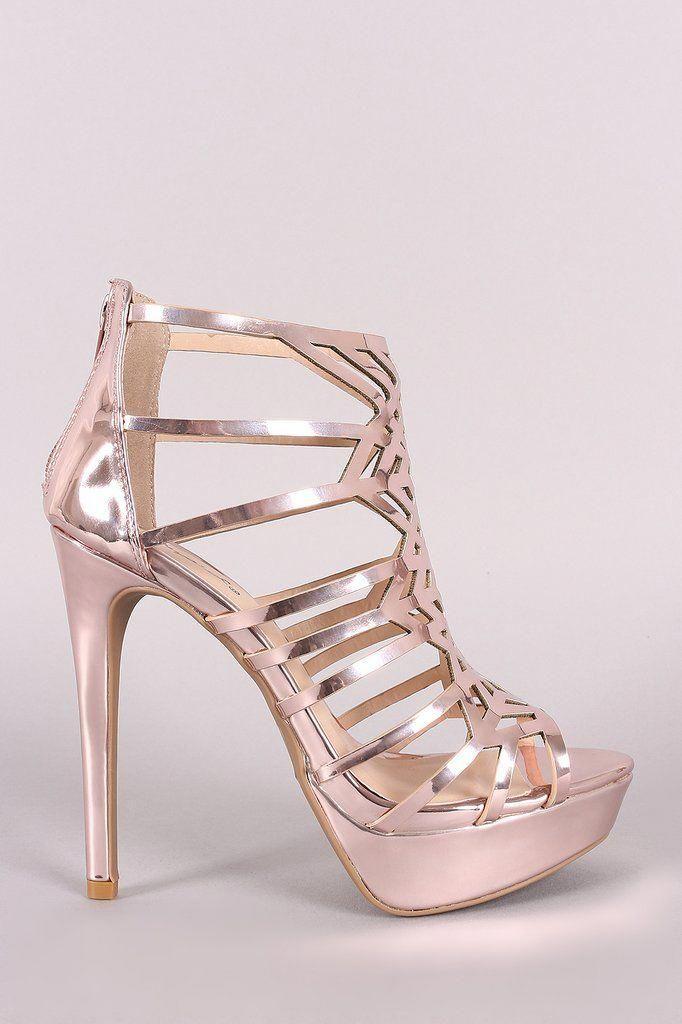 08991e68a76 Qupid Metallic Caged Cutout Stiletto Platform Heels #StilettoHeels ...
