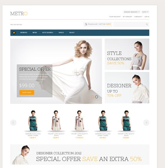 This minimal PrestaShop theme features unlimited colours, a responsive layout, an image and product slider, Cloud Zoom, more than 500 Google Web Fonts, Facebook and Twitter integration, a back to top button, a jQuery menu, and more.