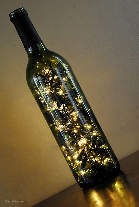 Wine bottle lamp... really want to try this!