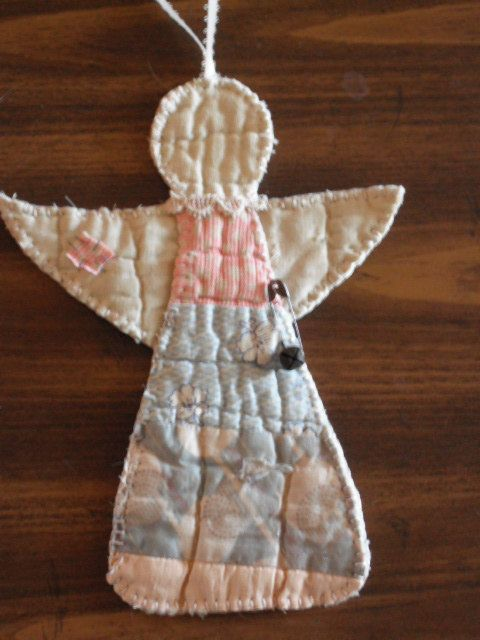 Primitive Angel Christmas Ornament- Vintage Quilt - Handsewn