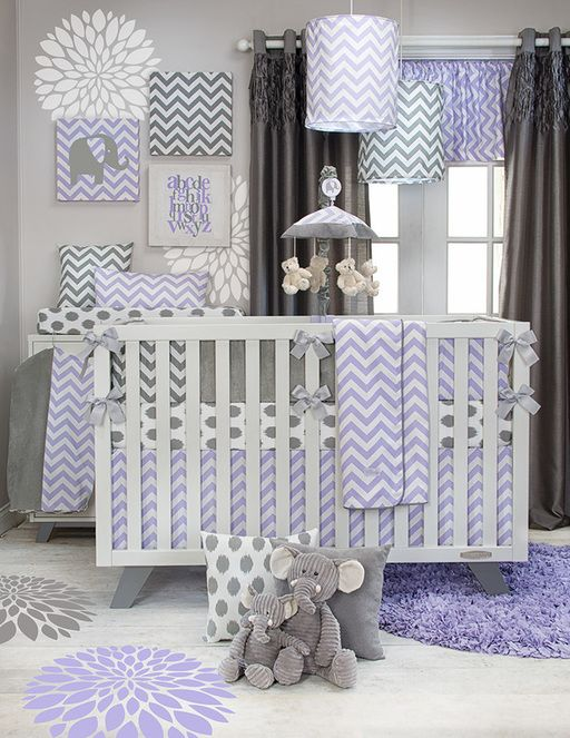 New Swizzle Purple crib bedding from Glenna Jean