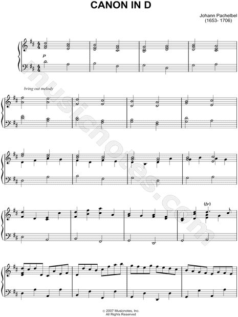 "Piano Songs To Walk Down The Aisle To: Johann Pachelbel - ""Canon In D"" Sheet Music"