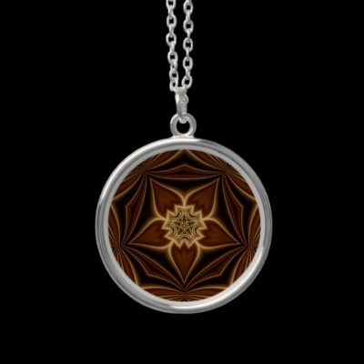 Bands Of Lace Sterling Silver Necklace  It Appears As Though Gold Lace And Wood Are Being Pinched Together In This Kaleidoscope Digital Artwork That Has Been Embedded Into A Sterling Silver Necklace.  $29.95