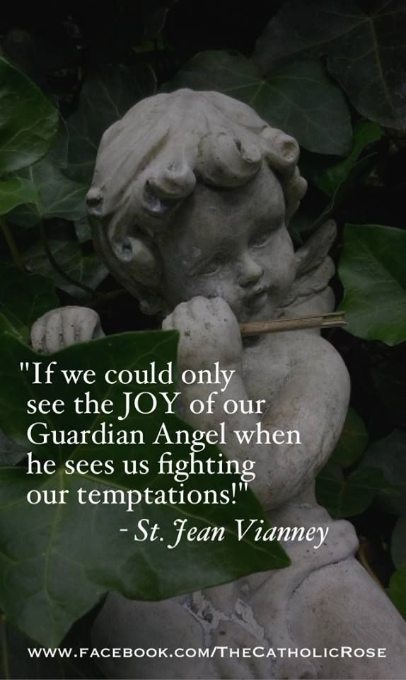 """""""If we could only see the JOY of our Guardian Angel when he sees us fighting our temptations!"""" ~St. Jean Vianney"""