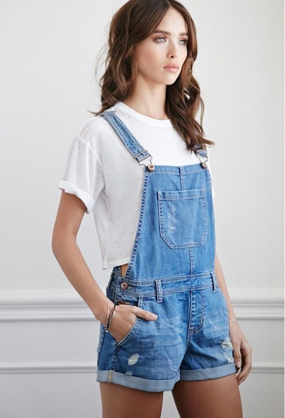 Forever21 Distressed Denim Overall Shorts