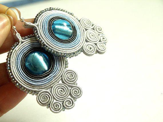 Soutache earrings soutache jewelry  hand by ShoShanaArt on Etsy, $26.00