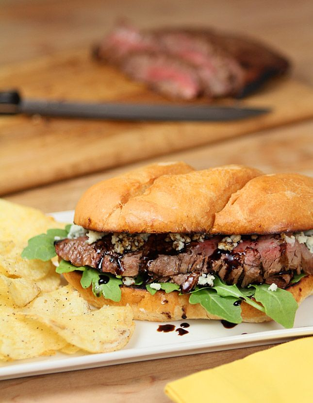 Balsamic and Blue Cheese Steak Sandwich #recipe