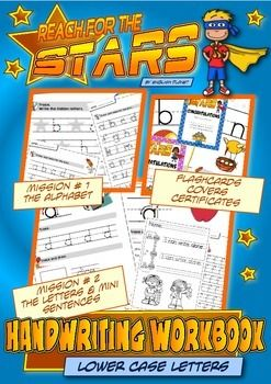 Handwriting Workbook (lower case letters) - CC L.K.1You will find: Teaching tips on how to structure the lessons 5 different cover pages (black & white  easier to copy) 4 worksheets for each letter 6 worksheets for the entire alphabet 2 ruled sheets 2 ruled sheets with name tags 11 I CAN WRITE worksheets 1 set of A4 flashcards 6 Reach-For-The-Stars certificatesDownload the preview to see more about this product.This workbook is a set of worksheets to learn and consolidate handwriting fine...