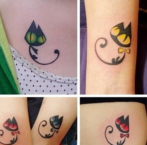 several cute cat tattoos with big colorful eyes