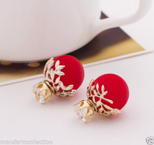 *FESTIVE FASHION* CHERRY RED gold leaf CZ stud double sided earrings #Earrings