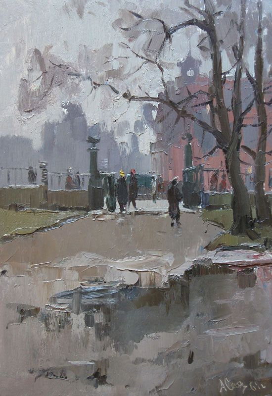 Александр Семенов (1922-1984) Дождливый день в Летнем Саду, 1960