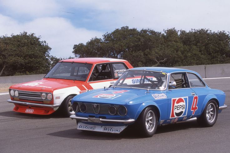 1972 Alfa Romeo Trans-Am 1750 GTV:  In the late 1960s and early 1970s, when Trans-Am was king, the Alfa Romeo 1750 GTVs and Nissan 510s duked it out for the under-2-liter title. Here are Horst Kwech's Alfa and John Morton's 510 from 1972.