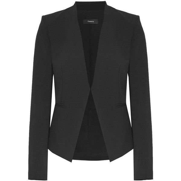 Theory Lanai stretch-wool blazer ($430) ❤ liked on Polyvore featuring outerwear, jackets, blazers, blazer, structure jacket, slim blazer, shoulder pad jacket, open front jacket and open front blazer