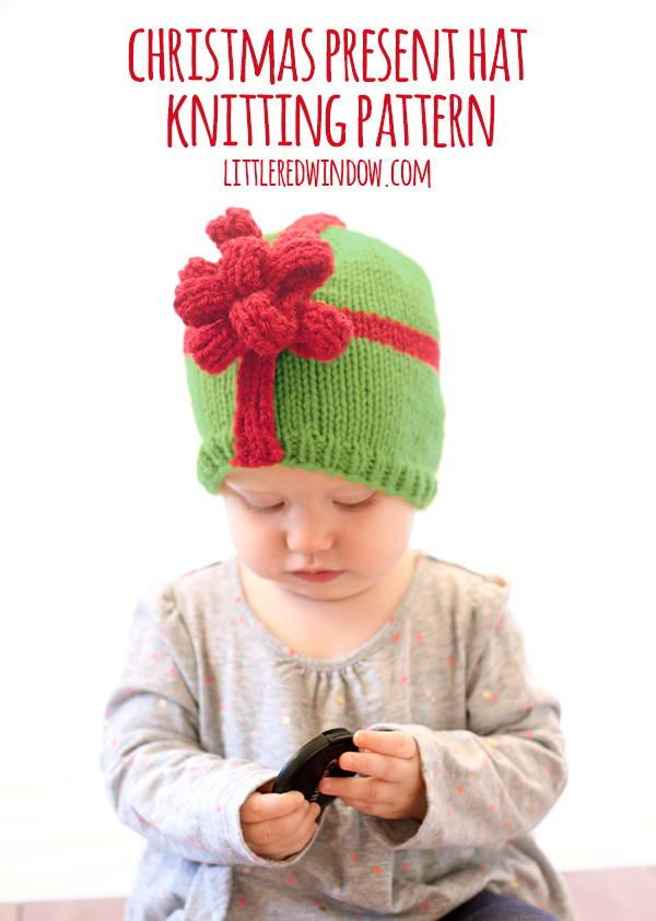 If you're looking for a hat pattern that will make people stop you and chuckle over its adorableness in the grocery store, the Christmas Present Bow Hat is it!
