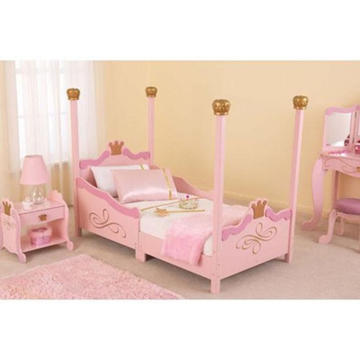 kidkraft princess wooden toddler bed cot kids furniture pink girls