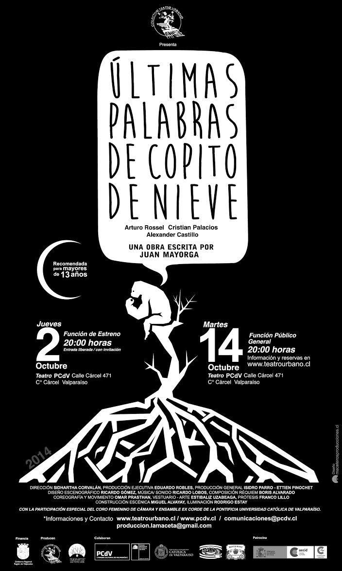 """Teatro comedia: """"Las últimas palabras de Copito de Nieve"""" en PCdV #valparaiso"""