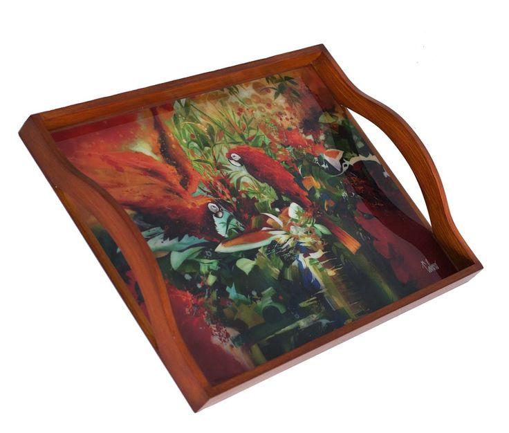 Bandeja  para 2 platos en madera,imagen en resina de vidrio 120.000$
