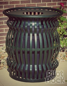 """Receptacle Model CN-R/SS3-36 is designed to hold most available 30-36 gallon liners. Dimensions"""" 32"""" tall x 29"""" OD x 22-3/4"""" ID. #pilotrock #gogreen #trashbin"""