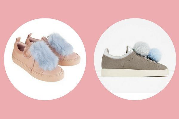 Josefinas Thelma and Louise (€295) vs. Zara pompoms leather sneakers (€39,95)