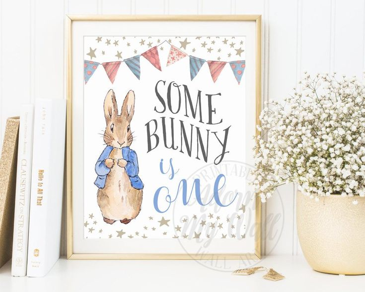 Some Bunny Is One, 1st Birthday, Turning one, Peter Rabbit Birthday Party, Party Decor, First Birthday Poster, Print, Printable, Decorations