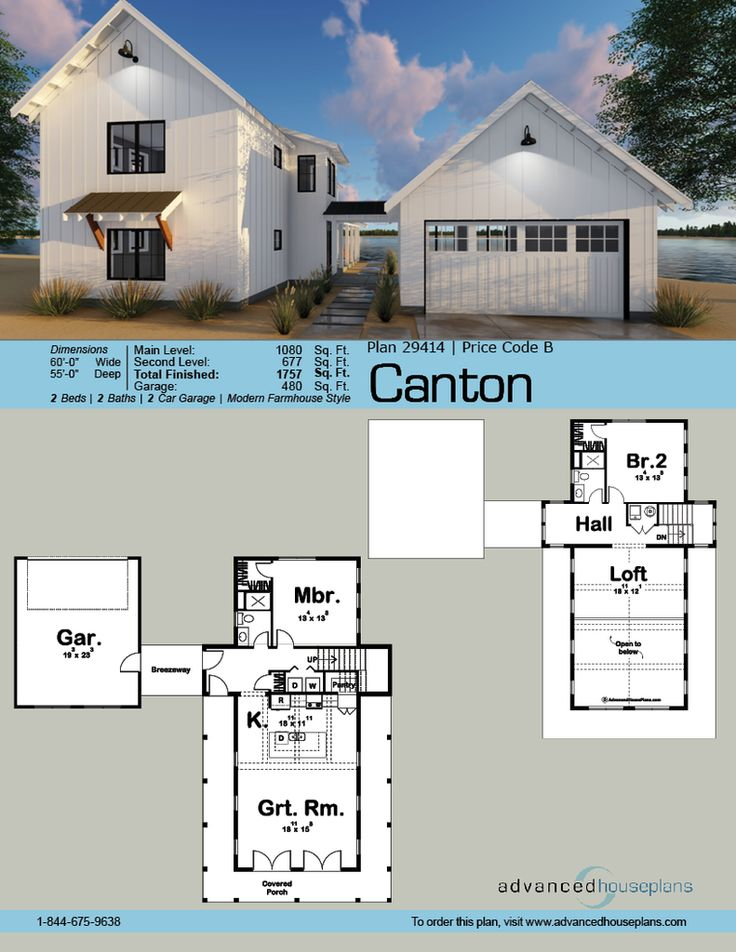 29414 Canton This 1.5-story, Modern Farmhouse cabin plan ...