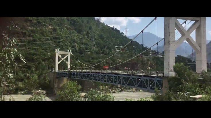 Indus River Bridge on Karakoram Highway between the mountains near Thakot