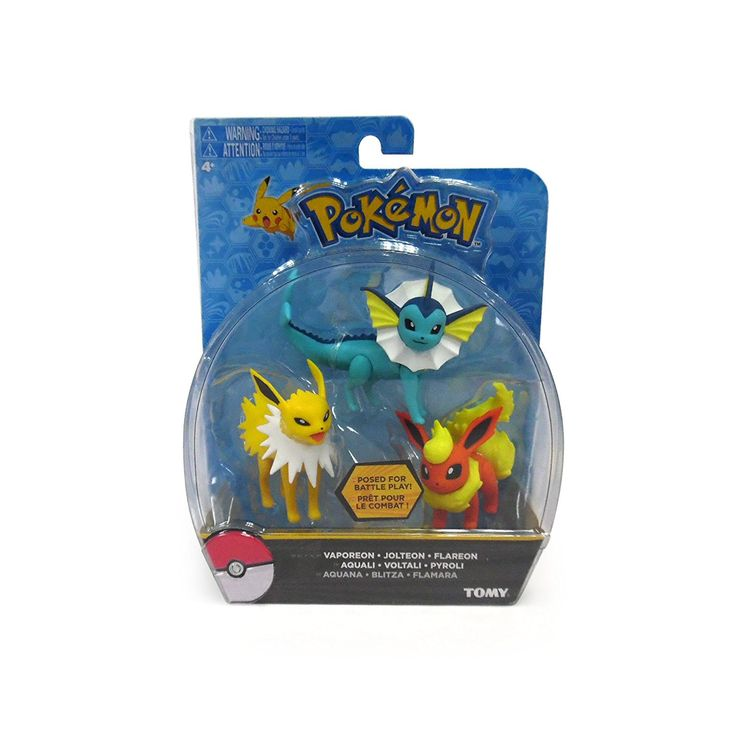 TOMY Pokemon Flareon Jolteon Vaporeon 3 Pack Action Pose Figure Set