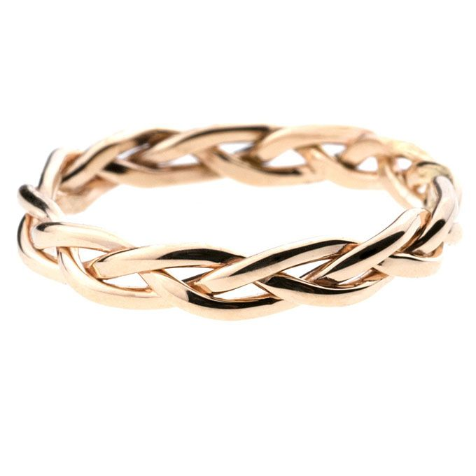 "Brides.com: Yellow Gold Wedding Rings for Women. ""Aldine"" braided band, 3mm wide and 1.8mm high, available in a variety of metals, starts at $210, Bario-Neal See more yellow gold rings."