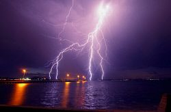 FEA-0007241 © WestPix A spectacular lightning strike over the Como jetty in Perth WA. Picture: Shaun Fearn