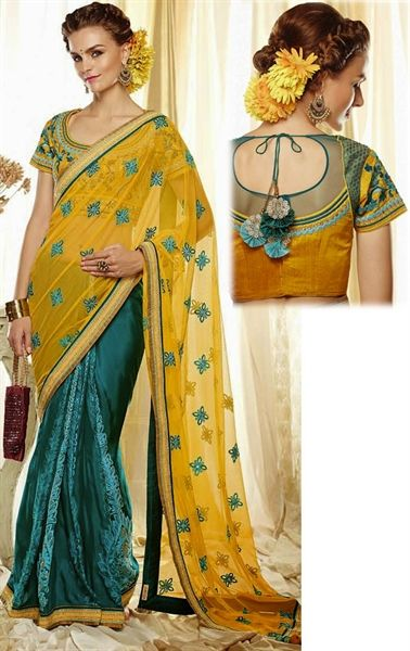 Picture of Alluring Sea Green and Yellow Color Saree