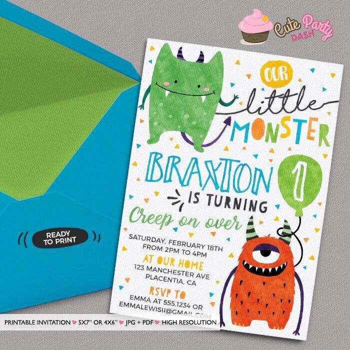 Little Monster Birthday invitations DIY printable Monster Birthday invite little monsters party invitation Watercolors Monster invite by CutePartyDash on Etsy https://www.etsy.com/listing/490112032/little-monster-birthday-invitations-diy