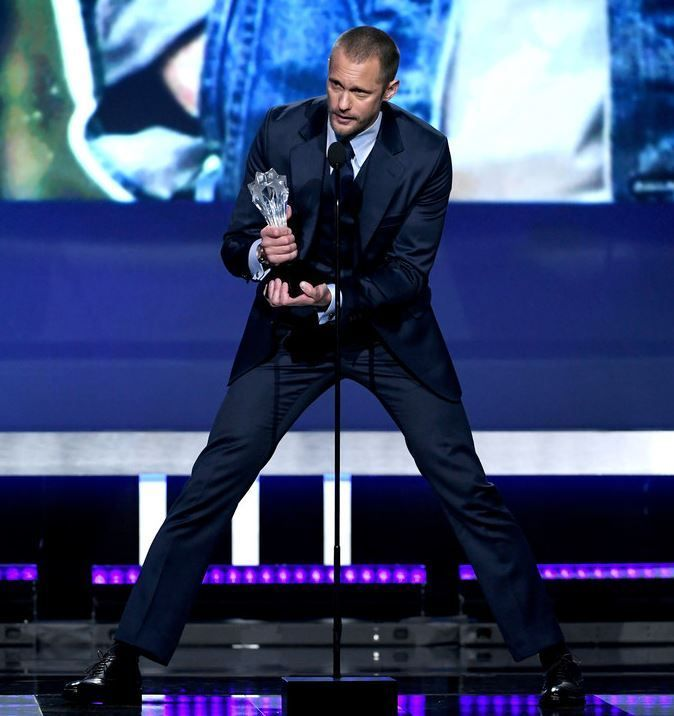"skarsjoy: "" Actor Alexander Skarsgard accepts Best Supporting Actor in a Movie/Limited Series for 'Big Little Lies' onstage during The 23rd Annual Critics' Choice Awards at Barker Hangar on January..."