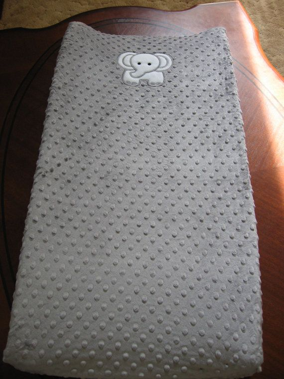 White Elephant On Gray Minky Changing Pad Cover by MoMaCreates