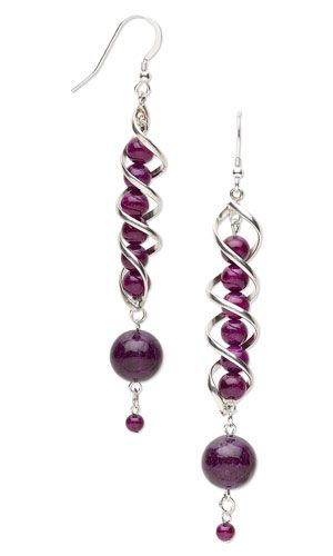 Earrings with Riverstone Gemstone Beads and Sterling Silver Focals - Fire Mountain Gems and Beads