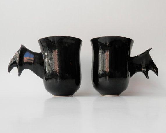 Ceramic Mugs, Bat Mugs, Handmade Poterry, Unique Modern Ceramic Design, Black Ceramics and Pottery on Etsy, $65.50