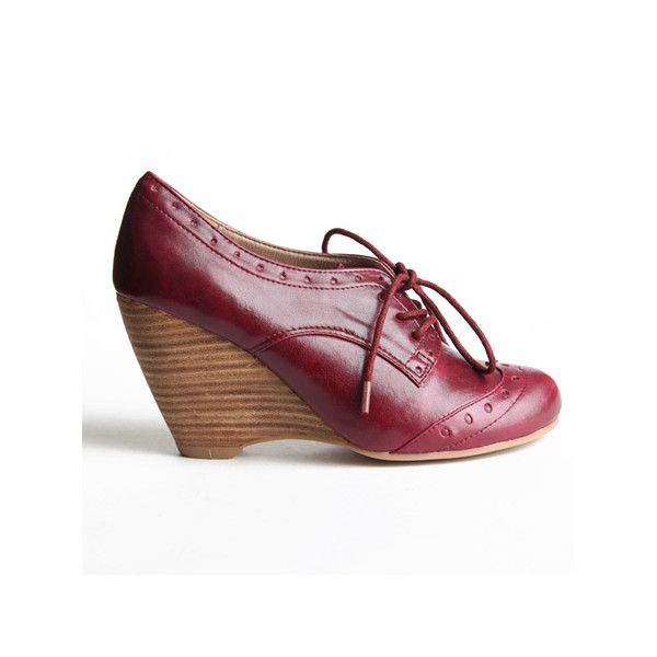 Chelsea Crew Claire Oxford Wedges In Burgundy ($65) ❤ liked on Polyvore featuring shoes, oxfords, women, chelsea crew oxford, burgundy shoes, oxford shoes, wedge oxford shoes and wedges shoes