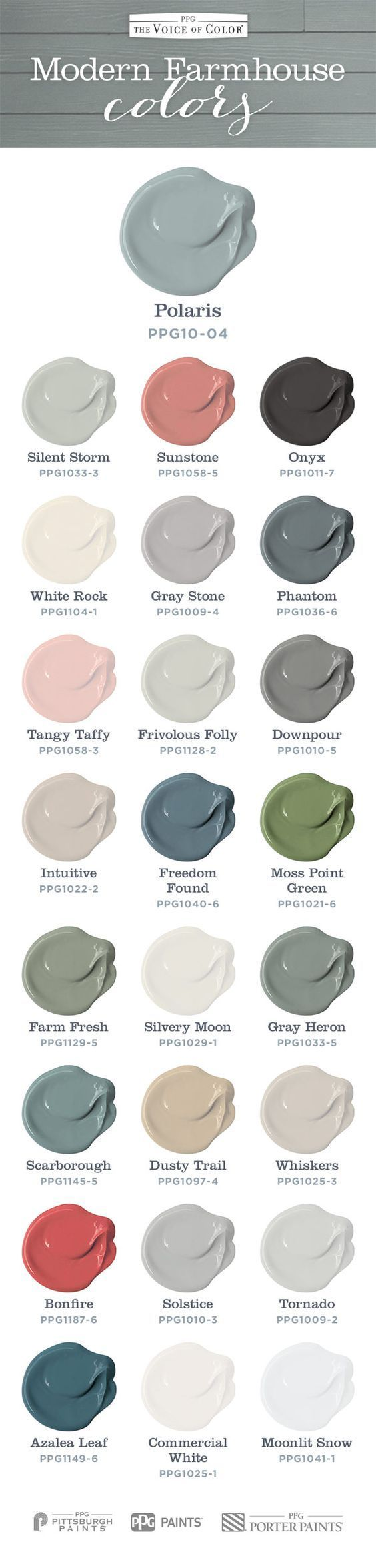 Soft welcoming Modern Farmhouse colors. Voice of Color presents a beautiful farmhouse color collection.