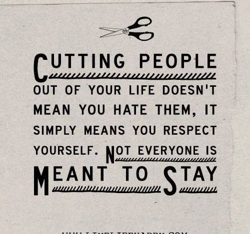 Cutting people out of your life doesn't mean you hate them, it simply means you respect yourself. Not everyone is meant to stay.