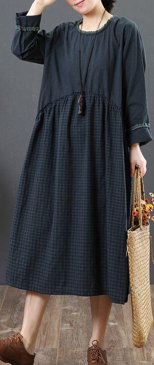 fd420c08c4 Fine-blue-patchwork-cotton-maxi-dress-plus-size-clothing-ruffles-o-neck- traveling-dress-top-quality-long-sleeve-autumn-dress